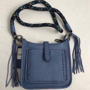 Rebecca Minkoff blue leather mini feed bag 2 strap